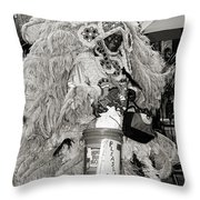 Mardi Gras Indian In Pirates Alley In Black And White Throw Pillow