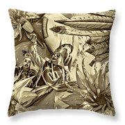 Mardi Gras - New Orleans 3 - Sepia Throw Pillow