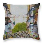 Mardi Gras On Bourbon Street Throw Pillow
