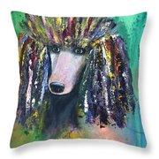 Mardi Gras Poodle Throw Pillow
