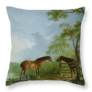 Mare And Stallion In A Landscape Throw Pillow by Sawrey Gilpin