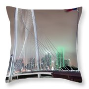 Margaret Hunt Hill Bridge Flag Throw Pillow