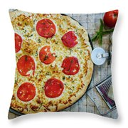 Margarita Pizza With Ingredients Throw Pillow