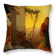 Maria Sister Of Lazarus Meets Jesus Who Is Going To Their House Throw Pillow
