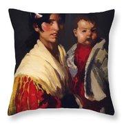 Maria Y Consuelo Gitana 1906 Throw Pillow