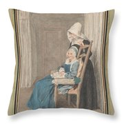 Marie Louise Petit At The Age Of 105, With Her Young Nurse Throw Pillow