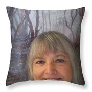 Marie With Cathedral Hills Behind Me Throw Pillow