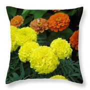 Marigold And Zinnias Throw Pillow