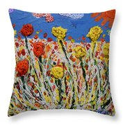 Marigold Flower Garden Throw Pillow