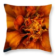 Marigold On Blue Throw Pillow