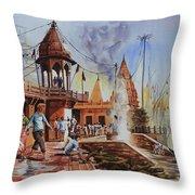Marikarnika Ghat Varanasi Throw Pillow