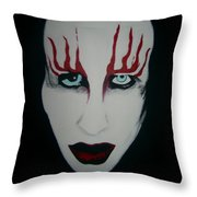 Face Black White Red Throw Pillow