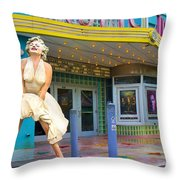 Marilyn Monroe In Front Of Tropic Theatre In Key West Throw Pillow