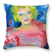 Marilyn Monroe In Pink And Blue Throw Pillow