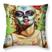 Marilyn Monroe Jfk Day Of The Dead  Throw Pillow