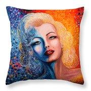 Marilyn Monroe Original Acrylic Palette Knife Painting Throw Pillow