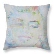 Marilyn Monroe - Watercolor Portrait.13 Throw Pillow