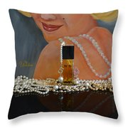 Marilyn With Chanel And Pearls Throw Pillow