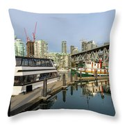 Marina At Granville Island In Vancouver Bc Throw Pillow