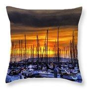 Marina At Sunset Throw Pillow