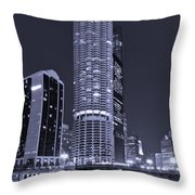 Marina City On The Chicago River In B And W Throw Pillow