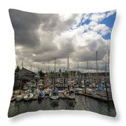 Marina In Olympia Washington Waterfront Throw Pillow