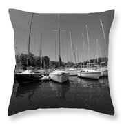Marina On Lake Murray S C Black And White Throw Pillow