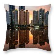 Marine City Sunset Throw Pillow