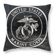 Marine Corps Emblem Polished Granite Throw Pillow