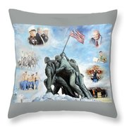 Marine Corps Art Academy Commemoration Oil Painting By Todd Krasovetz Throw Pillow