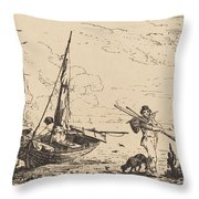 Marine: Fishing Boats On Shore, Man With Oars, Ship In Distance Throw Pillow
