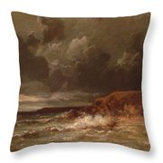 Marine Landscape The Cape And Dunes Of Saint Quentin 1870 Throw Pillow