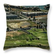 Mariners Point Golf Center In Foster City, California Aerial Photo Throw Pillow