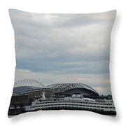 Mariners Seahawks And Ferry Throw Pillow