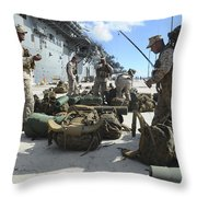 Marines Move Gear During An Embarkation Throw Pillow