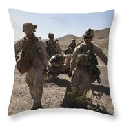 Marines Transport A Simulated Downed Throw Pillow