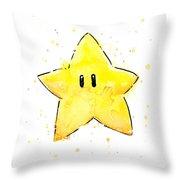 Mario Invincibility Star Watercolor Throw Pillow