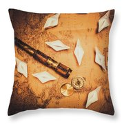 Maritime Origami Ships On Antique Map Throw Pillow