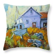 Maritime Scene Throw Pillow