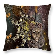 Mask Of The Wind Throw Pillow