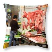 Market Butchery Hong Kong Throw Pillow
