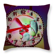 Market Clock 3 Throw Pillow