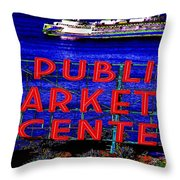 Market Clock And Ferry  Throw Pillow