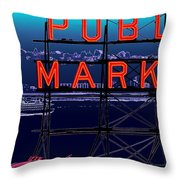 Market Ferry Throw Pillow