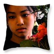 Market Flower Seller Throw Pillow