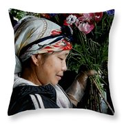 Market Flowers Throw Pillow