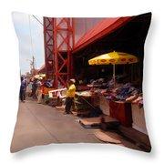Market Georgetown Guyana Throw Pillow