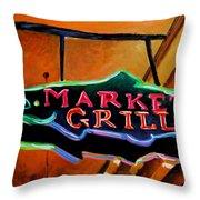 Market Grill Throw Pillow