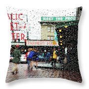 Market In Rain J005 Throw Pillow
