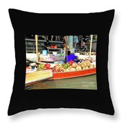 Market In Thailand Throw Pillow